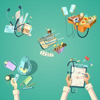 Ensemble rétro de dessin animé médical