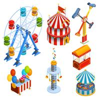 Icônes décoratives isométriques du parc d'attractions vecteur