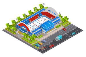 Bannière isométrique du complexe sportif vecteur