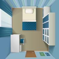Intérieur de la chambre à coucher moderne, vue de dessus réaliste