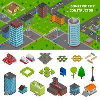 Bannières isométriques du constructeur de la ville vecteur