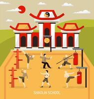 Composition des arts martiaux du temple chinois vecteur