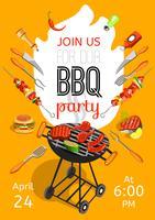 Affiche plate d'annonce de fête de barbecue vecteur