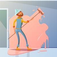 Illustration de peintre en bâtiment vecteur