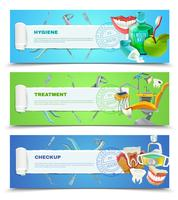Dentist 3 Flat Horizontal Banners Set