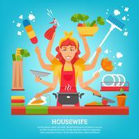 Femme au foyer multitâche à huit mains vecteur
