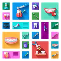 Dentiste Icons Set vecteur