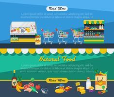 Bannières publicitaires dans les supermarchés vecteur