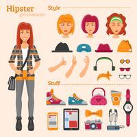 Hipster Girl Character Set d'icônes décoratives vecteur