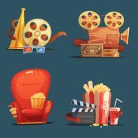 Cinéma Film Symboles Rétro Cartoon Set vecteur