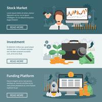 Bannières horizontales d'investissement et de commerce