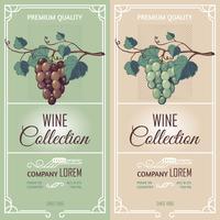 Deux bannières verticales avec des étiquettes de vin vecteur