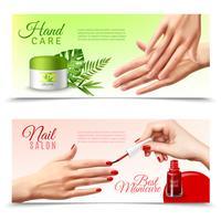 Soins des mains cosmétiques 2 bannières réalistes