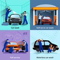 Service de lavage de voiture 4 icônes plates vecteur