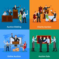 Auction People 4 Flat Icons