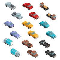 Icônes colorées isométriques de transport routier