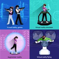 Carré de réalité augmentée virtuelle 4 icônes vecteur