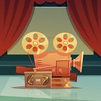Illustration de dessin animé rétro cinéma vecteur