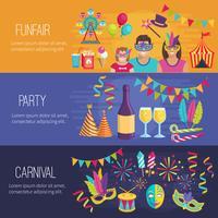 Bannières Plates Carnaval vecteur