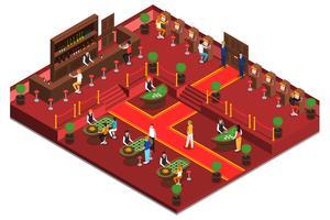 Intérieur isométrique du casino vecteur