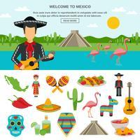 Mexique icône plate vecteur