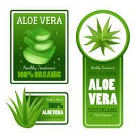 feuilles d'aloe vera étiquette ensemble de bannières