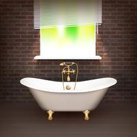 Affiche réaliste de salle de bain vecteur