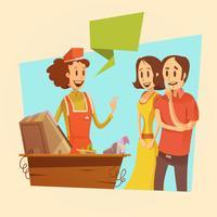 Illustration rétro de vendeuse et de clients