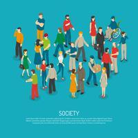 Affiche de foule de personnes vecteur