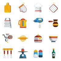 Set d'icônes ustensiles de cuisine vecteur