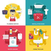 Service de plomberie 4 icônes plat Square