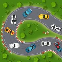 Illustration de la vue de dessus des voitures de sport à la dérive vecteur
