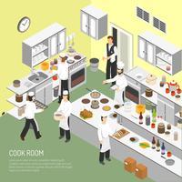 Affiche isométrique de salle de cuisine de restaurant vecteur
