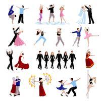 jeu d'icônes de personnes dansantes
