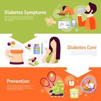 Ensemble de 3 bannières plates pour les symptômes du diabète vecteur