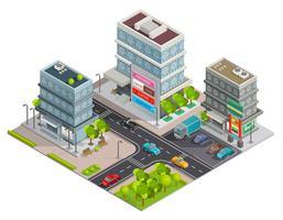 Bannière isométrique complexe d'immeubles de centre commercial