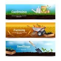 Trois bannières horizontales de jardinage