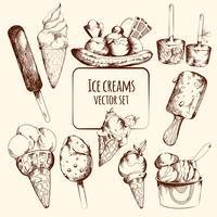 Esquisse de crème glacée vecteur