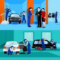 Service de lavage de voiture 2 bannières plates vecteur