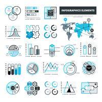 Éléments d'infographie noir et bleu