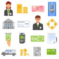 Icônes de couleurs isolées de banque