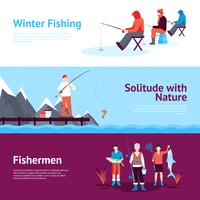 Jeu de bannières horizontales pour la pêche saisonnière vecteur