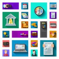 Cote de crédit icônes plat ombre