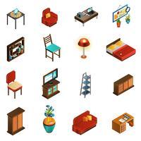 Ensemble d'icônes intérieur de maison vecteur