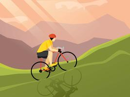 Affiche plate cycliste vecteur