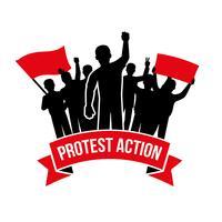 Emblème d'action de protestation vecteur