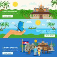 Jeu de 3 bannières horizontales de la culture cambodgienne
