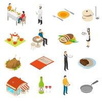 Restaurant Cafe Bar Isometric Icons Set