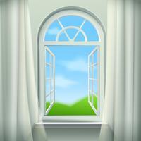 Illustration d'une fenêtre ouverte cintrée vecteur