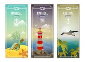 Bannières verticales nautiques rétro mer